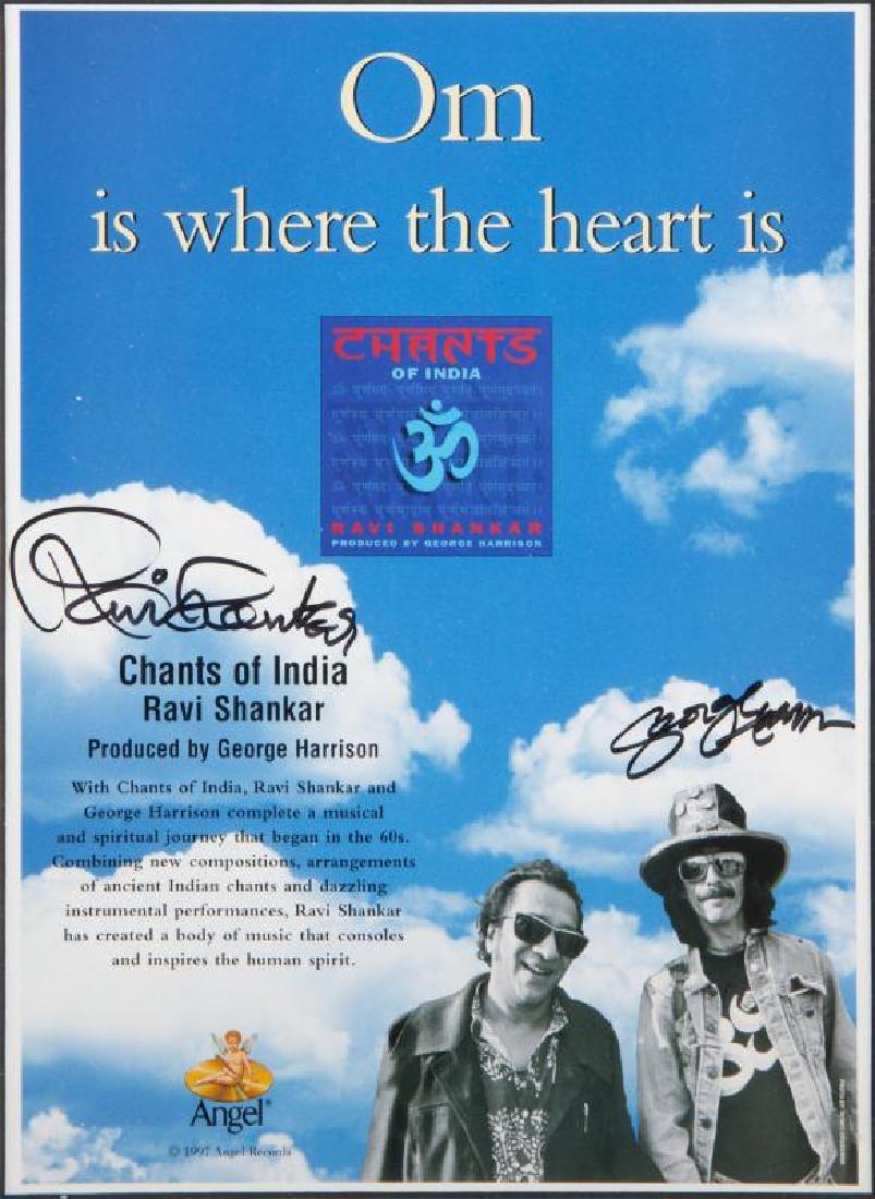 GEORGE HARRISON AND RAVI SHANKAR SIGNED FLYER
