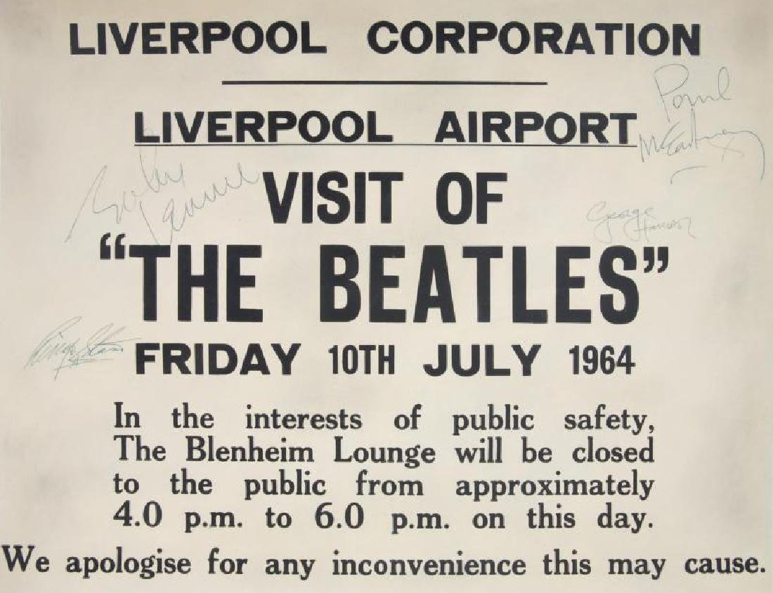 THE BEATLES SIGNED LIVERPOOL AIRPORT POSTER