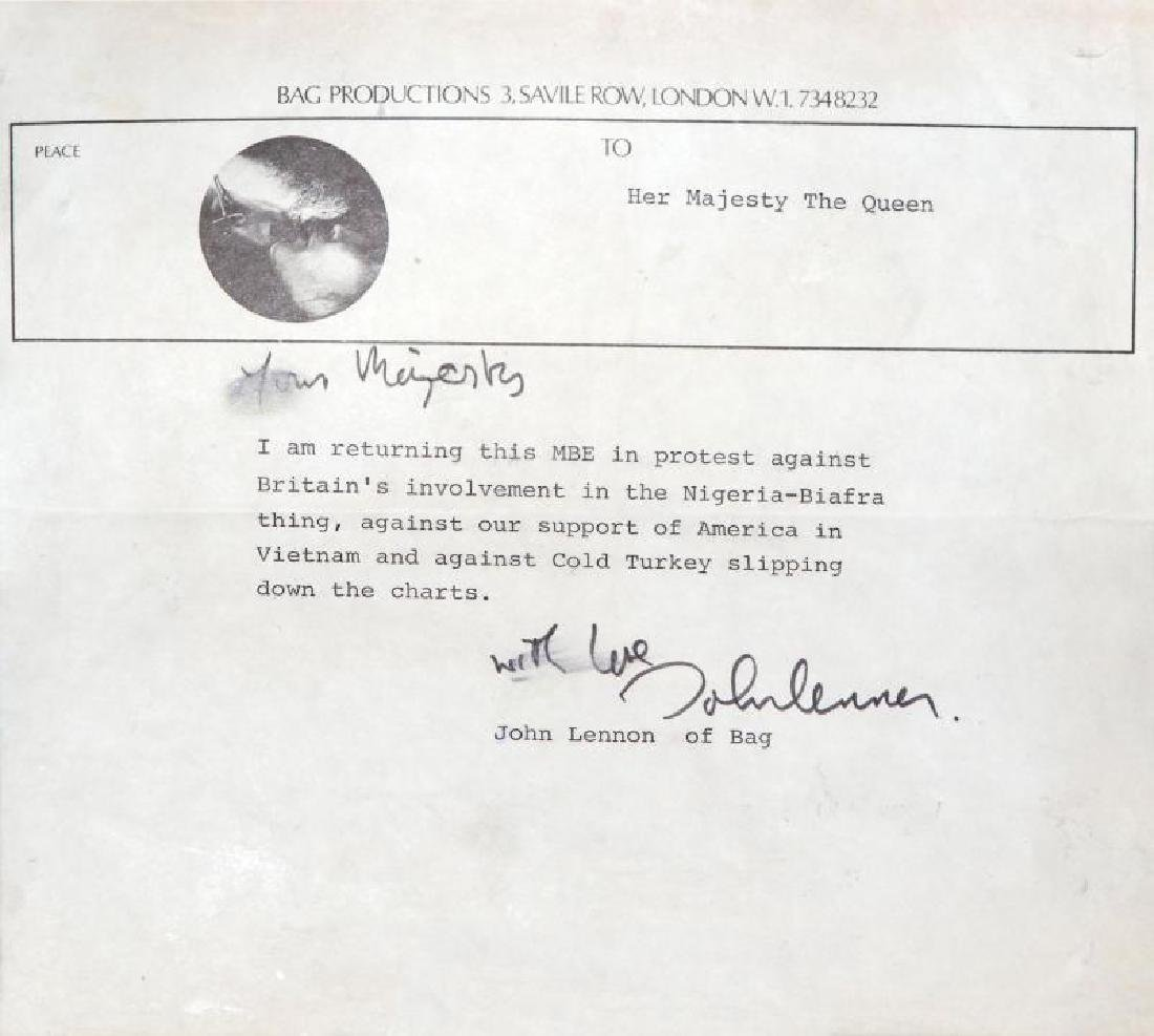 JOHN LENNON SIGNED LETTER TO HER MAJESTY THE QUEEN