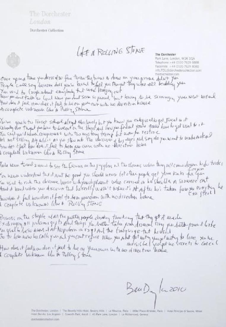 """BOB DYLAN HANDWRITTEN AND SIGNED LYRICS TO """"LIKE A"""