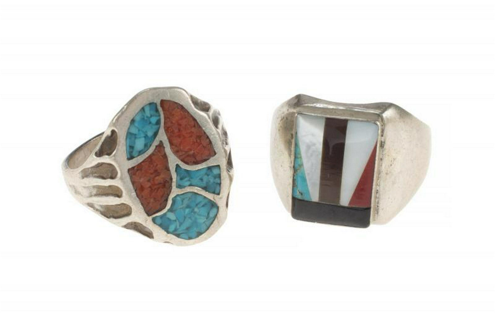 B.B. KING TURQUOISE AND STERLING SILVER RINGS