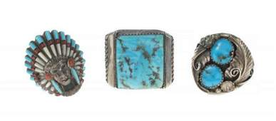 BB KING TURQUOISE AND STERLING SILVER RINGS