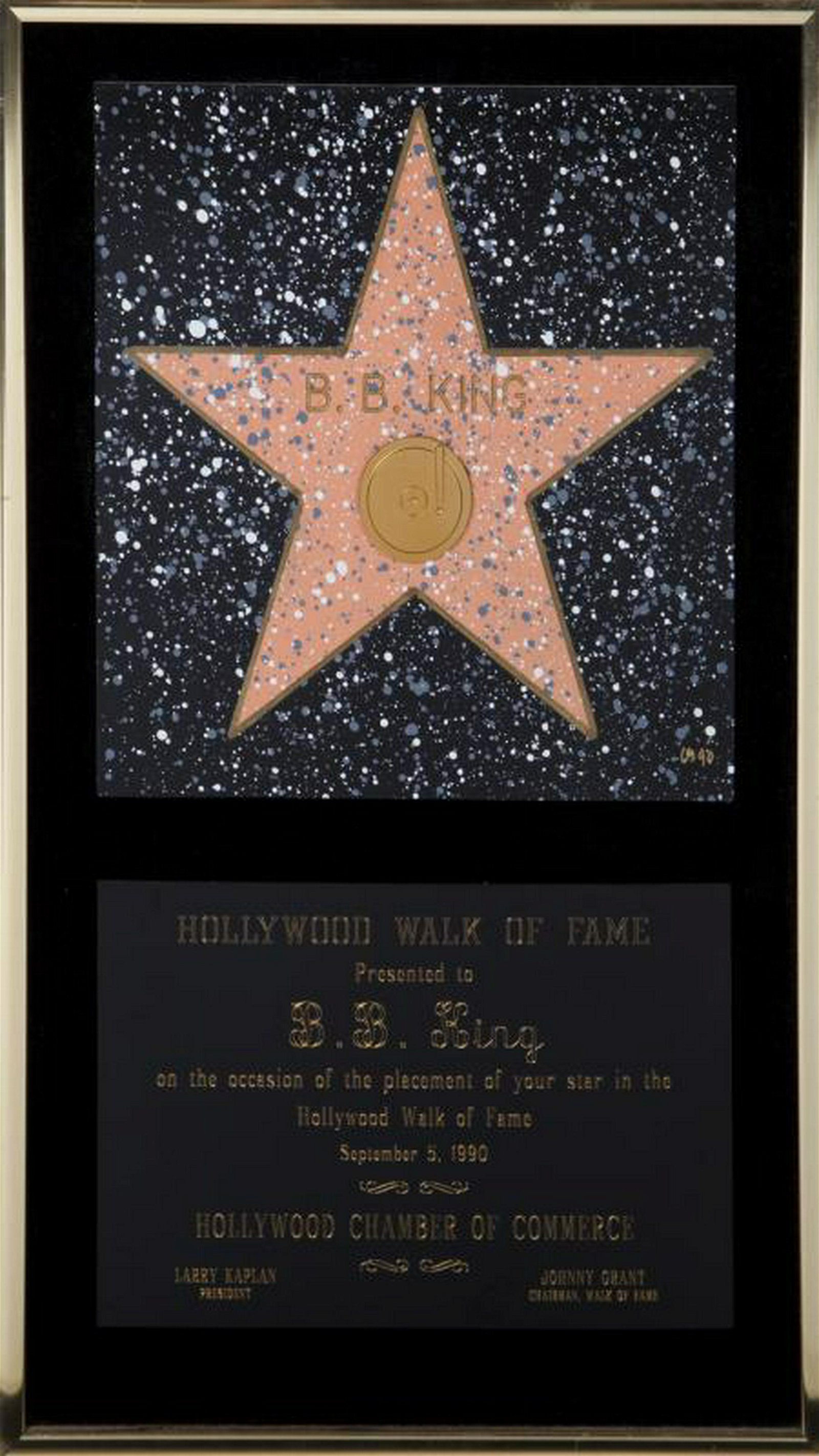 B.B. KING HOLLYWOOD WALK OF FAME PLAQUE