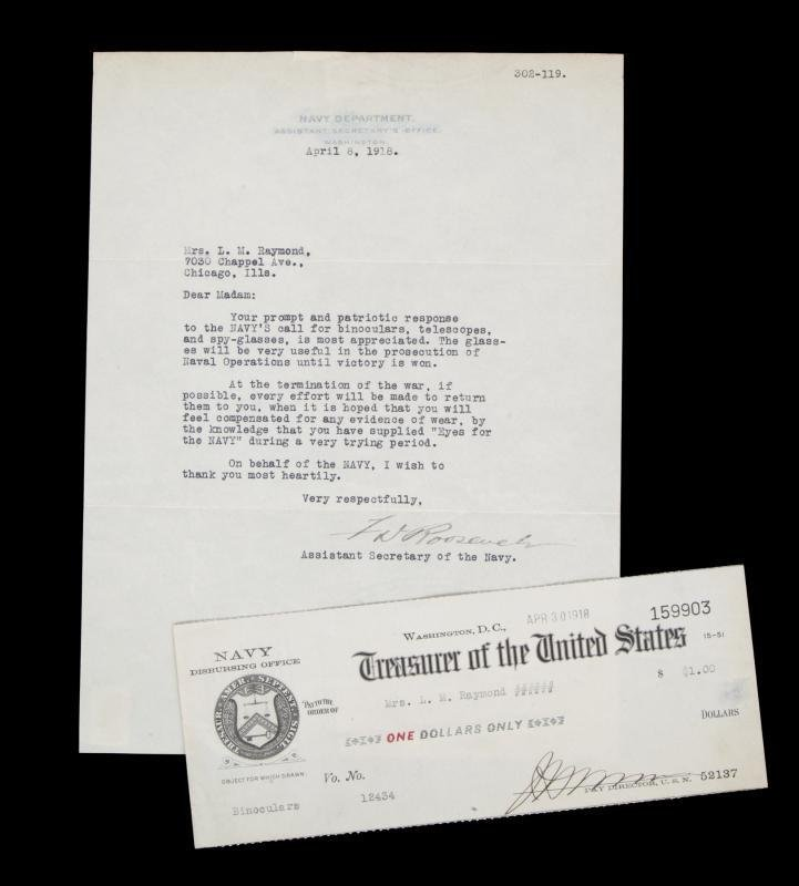 FRANKLIN D. ROOSEVELT SIGNED LETTER AND NAVY CHECK