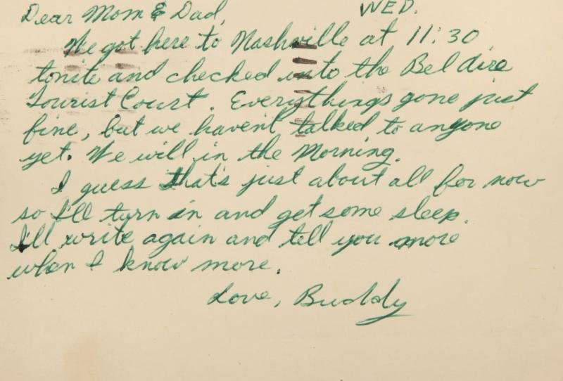 BUDDY HOLLY HANDWRITTEN POSTCARD TO HIS PARENTS