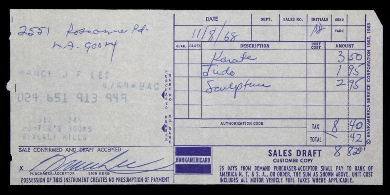 BRUCE LEE SIGNED CREDIT CARD RECEIPT