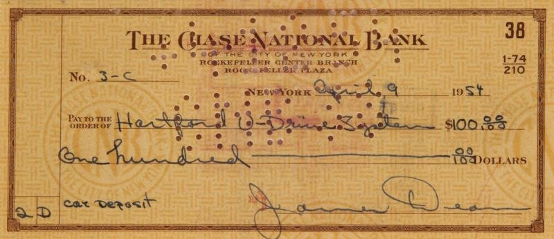 JAMES DEAN SIGNED CHECK