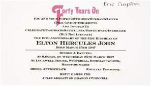 ELTON JOHN BIRTHDAY INVITATION FOR ERIC CLAPTON