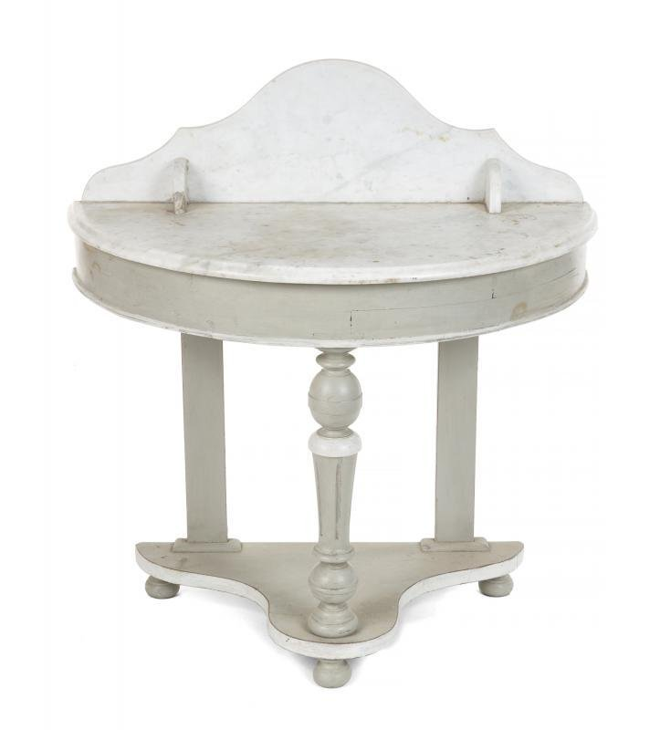 RONNIE WOOD OWNED VICTORIAN MARBLE TOPPED DEMILUNE