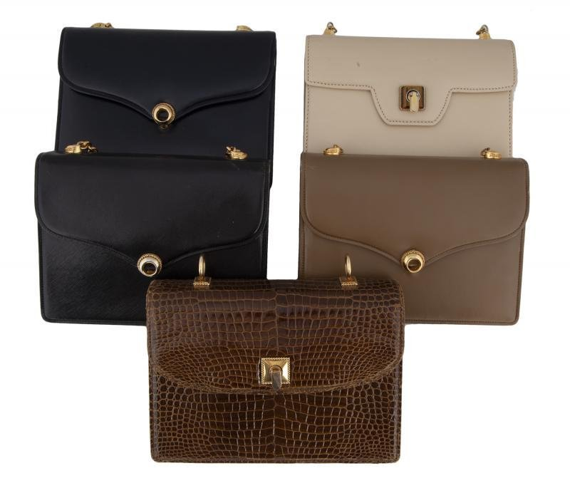 SINATRA GROUP OF FIVE VINTAGE GUCCI HANDBAGS