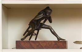 SINATRA BRONZE SCULPTURE FEMALE NUDE ON CHAIR