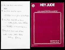 "PAUL McCARTNEY STUDIO-USED HANDWRITTEN LYRICS TO ""HEY"