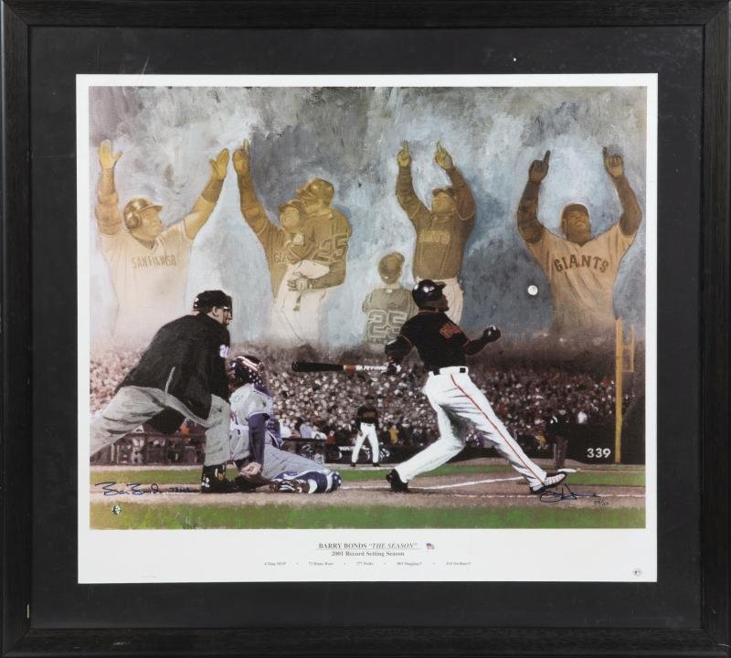 BARRY BONDS SIGNED 'THE SEASON' LITHOGRAPH
