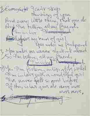 JOHN LENNON 1963 HANDWRITTEN AND ANNOTATED LYRICS TO