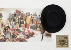 ELTON JOHN MUSIC VIDEO WORN AND SIGNED HAT