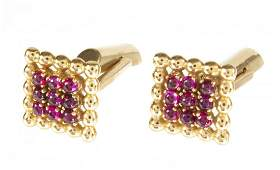 JERRY LEWIS 14K GOLD AND RUBY CUFFLINKS