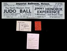 JIMI HENDRIX HANDBILL AND THREE CONCERT TICKET STUBS,