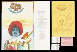 JIMI HENDRIX NEWPORT HANDBILL, PROGRAM AND THREE