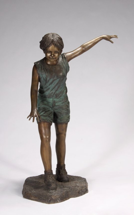 4: LIFE-SIZE PATINATED METAL STATUE OF A YOUNG GIRL BAL