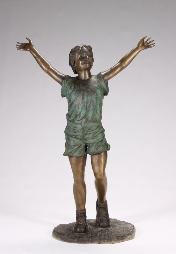 5: LIFE-SIZE PATINATED METAL STATUE OF A YOUNG GIRL CEL