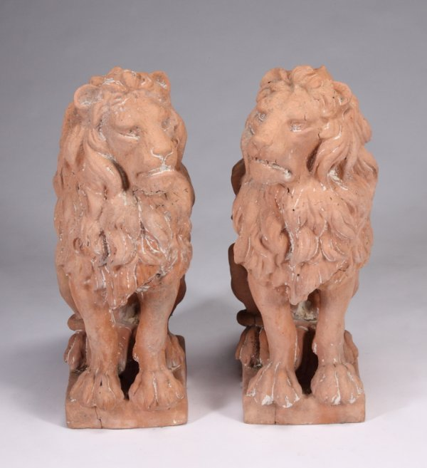 22: PAIR OF PAINTED LIONS
