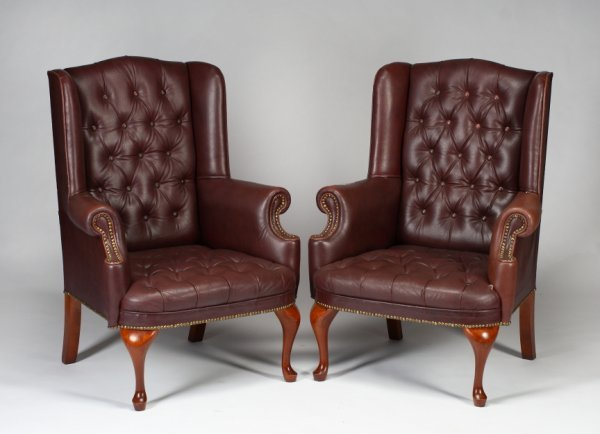 166: PAIR OF QUEEN ANNE STYLE WINGBACK ARMCHAIRS