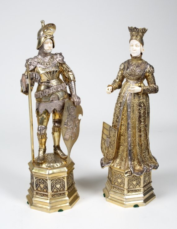 661: PAIR OF GILDED STERLING AND IVORY COURT FIGURES