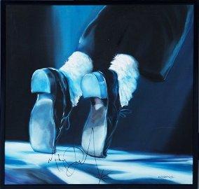 1354: MICHAEL JACKSON SIGNED PAINTING