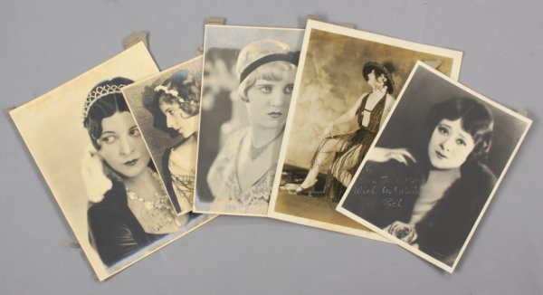 12: FIVE PHOTOGRAPHS SIGNED BY SILENT FILM STARS