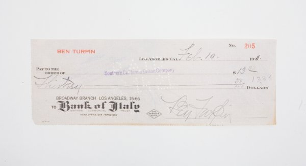 17: BEN TURPIN SIGNED CHECK
