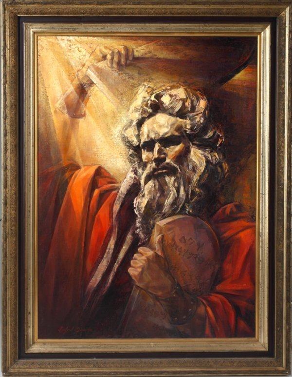 145: TEN COMMANDMENTS PAINTING BY LINFORD DONOVAN