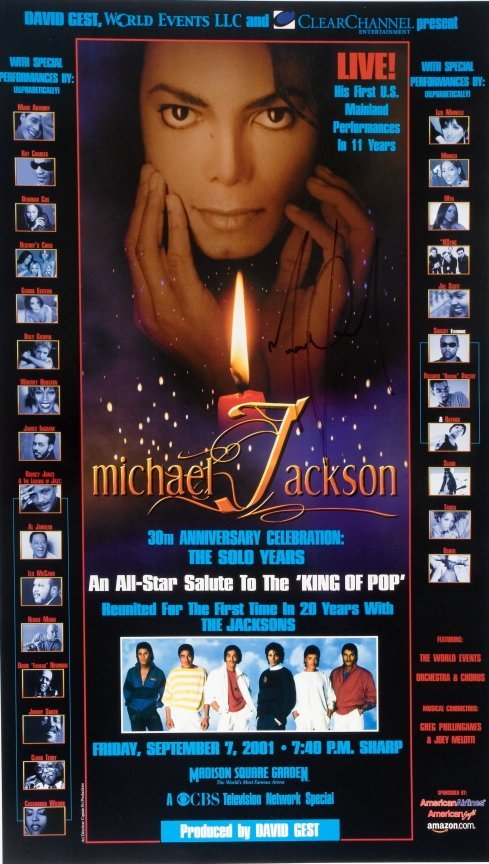 333: MICHAEL JACKSON SIGNED CONCERT POSTER