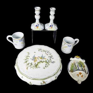 MOUSTIER AND QUIMPER FRENCH FAIENCE ASSORTED TABLEWARE