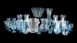 SET OF LA VERRERRIE DE BIOT HAND BLOWN BUBBLE GLASSWARE