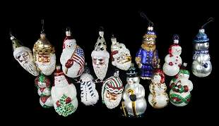 GROUP OF SNOWMEN AND OTHER CHRISTMAS ORNAMENTS