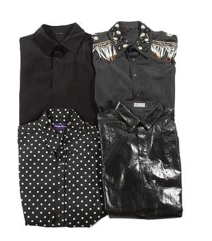 FOUR BLACK DESIGNER SHIRTS