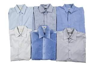 SIX BLUE AND WHITE DESIGNER DRESS SHIRTS