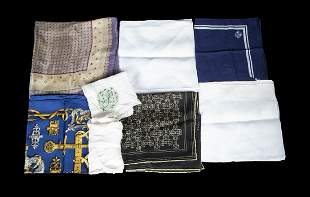 EIGHT ASSORTED POCKET SQUARES