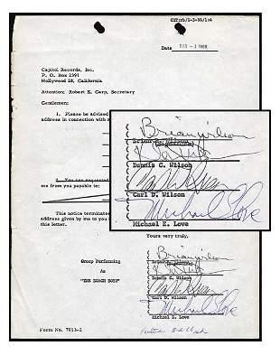 Beach Boys Rare Vintage Signed Document