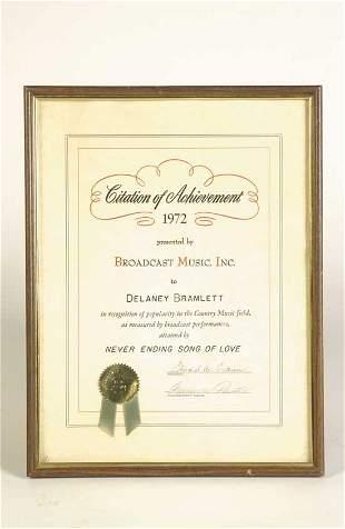 Delaney Bramlett 1972 Achievement Award