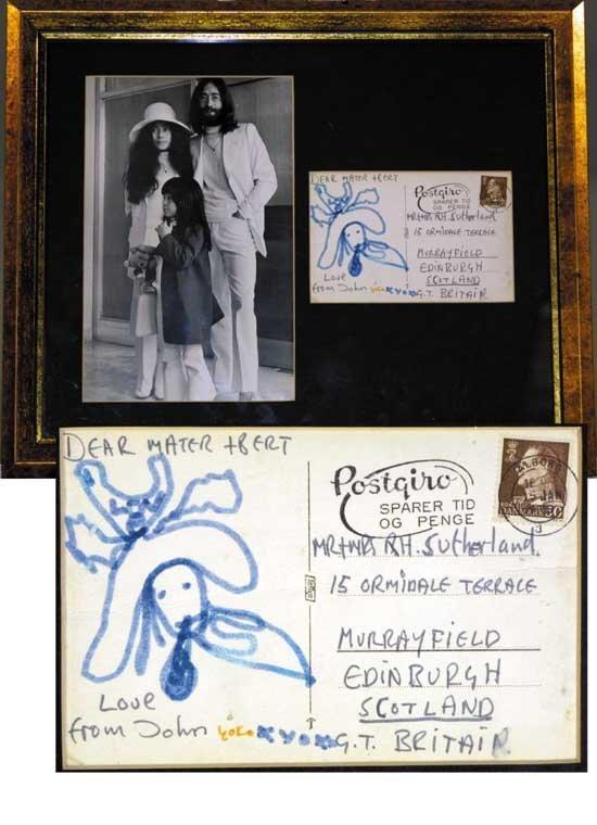 Lennon & Yoko Ono Signed Handwritten Postcard