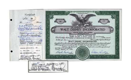 Walt Disney Scarce Signed Stock Certificate
