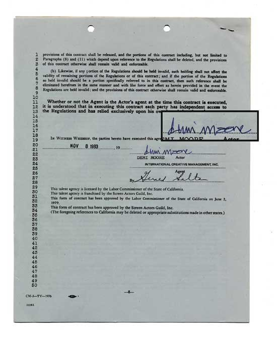 Demi Moore Rare Early Signed Document