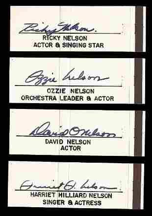 Nelson Family Rare Vintage Signature Set