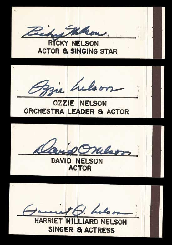 Nelson Family Rare Vintage Signature Set
