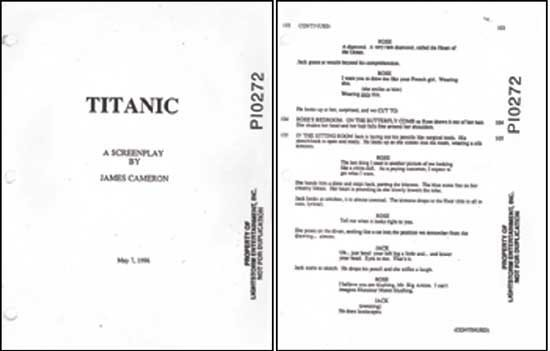 Original Shooting Script from movie Titanic
