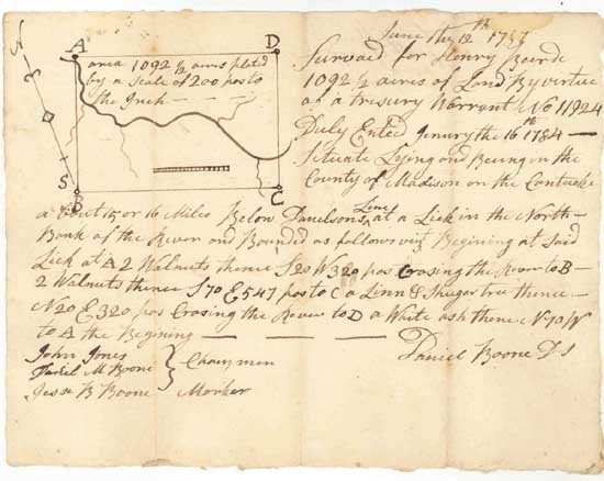 Daniel Boone Handwritten Signed Land Document