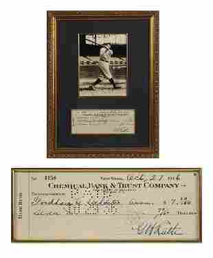 Babe Ruth Signed Bank Check PSA/DNA