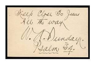 Billy Sunday Vintage Ink Signature PSA/DNA