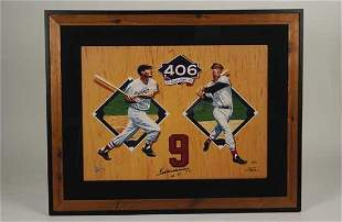 Ted Williams Signed Giclee Framed Display PSA
